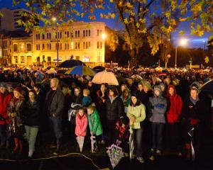 Crowds gather for the Anzac dawn service in Dunedin yesterday. Photo by Gerard O'Brien.