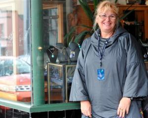 Cruise ship passenger Sue Hansen, of Queensland, in Port Chalmers yesterday.
