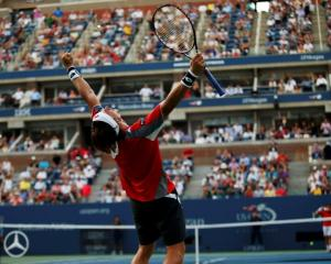 David Ferrer of Spain celebrates after defeating Janko Tipsarevic of Serbia in their men's...