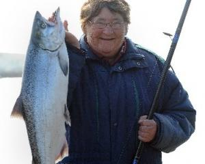 Denise Lukey, of Westport, with her first salmon in five years, a 6kg specimen landed off the...