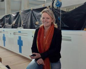 Dunedin City Council aquatic services manager Paulien Leijnse checks out  the new bulkhead at...