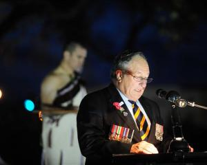 Dunedin RSA president Alan Goding speaks at the dawn service. Photo by Craig Baxter