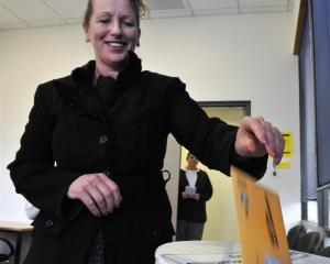 Dunedin's Janeen Pringle casts her vote at the Civic Centre yesterday. Photo by Gerard O'Brien.