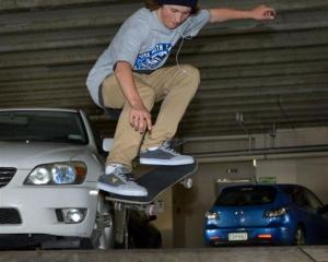 Dunedin skateboarder Patrick  Wybrow practises in downtown Dunedin  before competing at a rooftop...