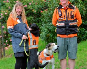 Emma Milburn with Dart, who is now Dunedin's fourth operational LandSAR dog, along with Fin and...