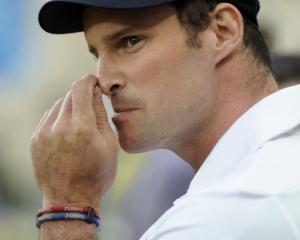 England captain Andrew Strauss waits for the prize presentation ceremony after Pakistan won the...