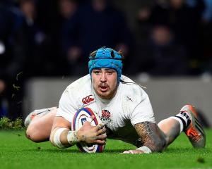 England's Jack Nowell dives over to score against France. Reuters / Dylan Martinez Livepic