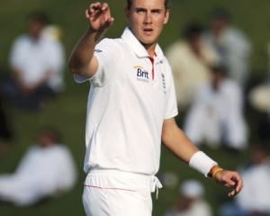 England's Stuart Broad prepares to catch the ball during their second test against Pakistan at...