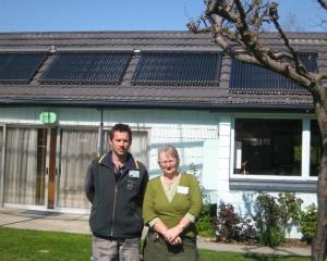 Erna Spijkerbosch with her son Michael at the Queenstown Top 10 Holiday Park Creeksyde with solar...