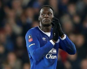 Everton's Romelu Lukaku applauds his team's fans. Photo Reuters