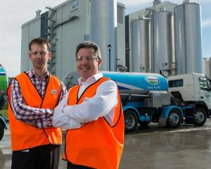 Fonterra's Canterbury operations manager Richard Gray (left)  and director logistics network...