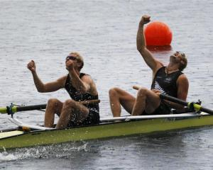 Hamish Bond (left) and Eric Murray celebrate after winning the men's pair final at the London...