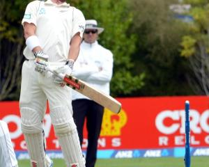 Hamish Rutherford ducks a high ball during the New Zealand v West Indies test at the University...