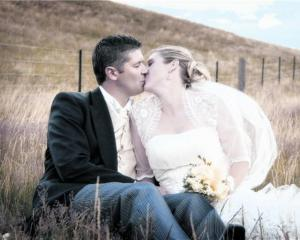Hayden Fry and Louise Horrell, who were married at the Cardrona Hotel in January this year. Photo...