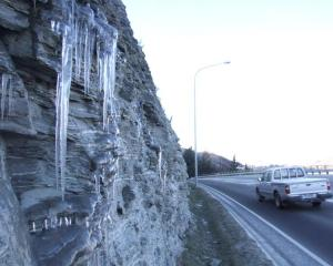 Icicles hang from rock beside Frankton Rd, near Queenstown, in 2007. The Queenstown Lakes...