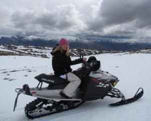 "In her spare time, Wanaka snowmobiler Torte Lyons enjoys ""freestyle"" riding, wherever she can..."