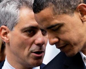 In this June 6, 2008, file photo Rep. Rahm Emanuel, D-Ill., left, huddles with then-Democratic...