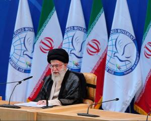 Iran's Supreme Leader Ayatollah Ali Khamenei speaks during the 16th summit of the Non-Aligned...