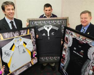 Items to be auctioned this Friday night at the Otago Sports awards are (from left) a Maria...