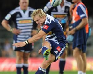 Joe Pietersen of the Stormers kicks for goal against the Sharks in their Super 15 match in Cape...