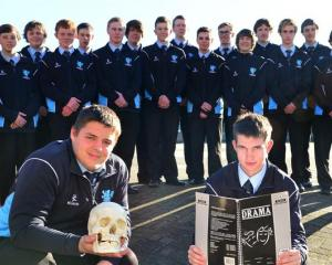 King's High School pupils (from left) Sean Bennett and Will Meiklejohn (both 16) with the 23...