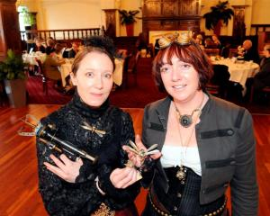 Kura Carpenter (left) and Kirsty Lewis-Bleakley, from Dunedin Steampunk group the Gasworks Guild...