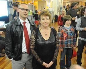 Labour winners . . . David Clark, who won Dunedin North with Clare Curran, who held Dunedin South...