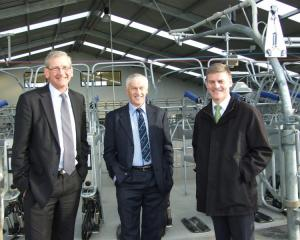 Lincoln University chancellor Tom Lambie (left), Telford Farm Board chairman Mike Elliot  and...