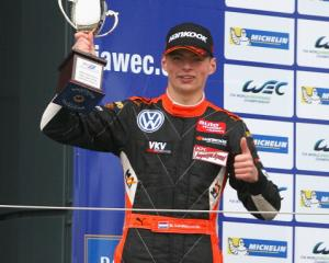 Max Verstappen celebrates his second place at the FIA Formula 3 European Championship race at the...