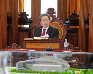 Mayor Peter Chin at yesterday's Dunedin City Council meeting. Photo by Craig Baxter.