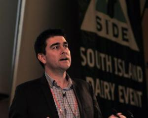 Michael Harvey, from Rabobank, outlines the global dairy outlook to attendees at Business Side in...