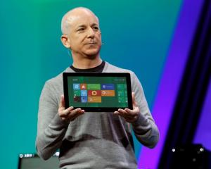 Microsoft Windows President Steven Sinofsky introduces the new tablet running a test version of...