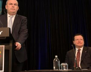 Minister Steven Joyce and CEO of Skycity Nigel Morrison talk to media about the SkyCity...