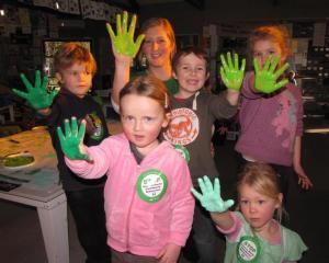mong the 66 children at Wakatipu  Kindergarten who put their handprints on posters  protesting...