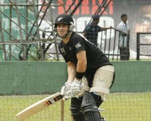 Nathan McCullum prepares to bat at a New Zealand practice session in Colombo, Sri Lanka, on...