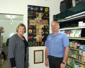 Neurosurgery fundraising project manager Irene Mosley and Rosebank Four Square owner Bruce Duncan...