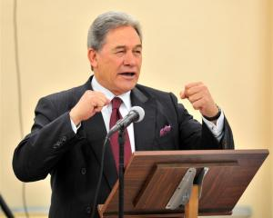 New Zealand First leader Winston Peters addresses supporters in Dunedin last night. Photo by...