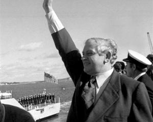 Norman Kirk bids farewell to HMNZS Otago as it sets sail for Mururoa Atoll in June 1973. Photo by...