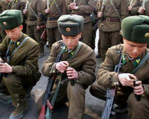 North Korean soldiers attend military training in this picture released by the KCNA news agency...