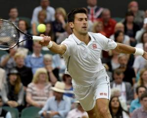 Novak Djokovic hits a return to Jo-Wilfried Tsonga. REUTERS/Toby Melville