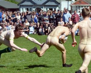 Nude rugby provides the traditional unofficial test curtain raiser.