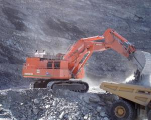 Oceana Gold's 348-tonne Hitachi EX3600-5 mining excavator, here working at the Macraes mine, is...