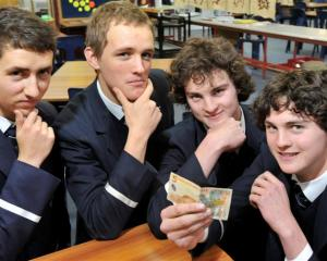 Otago Boys' High School economics pupils Nick Lorimer, Ed Haslam and twins, Matt and Callum...