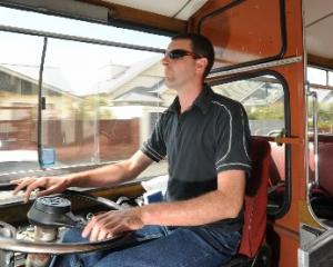 Otago Heritage Bus Society Incorporated executive member Alastair Stewart takes  Leyland Leopard...