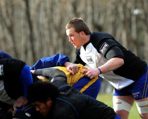 Otago loose forward Gareth Evans training at the University Oval yesterday. Photo by Peter McIntosh.