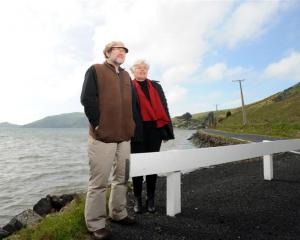 Otago Peninsula community board chairman John Bellamy and deputy chairwoman Chris Garey stand at...