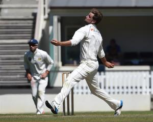 Otago Volts bowler Sam Wells prepares to send down a delivery during his team's Plunket Shield...