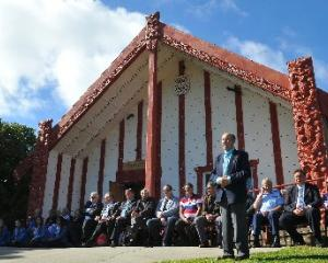 Otakou runanga elder Edward Ellison welcomes the more than 500 people to Otakou marae yesterday.