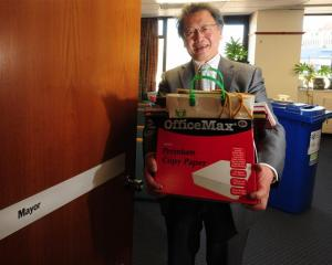 Outgoing Dunedin Mayor Peter Chin clears out the mayoral office for the arrival of his successor,...