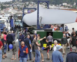 Part of the large crowd at the Mahinerangi wind farm machinery open day in  Fryatt St,  Dunedin ...